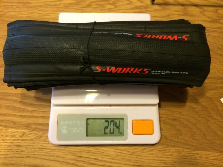 S-WORKS TURBOタイヤ24C の実測値は204g