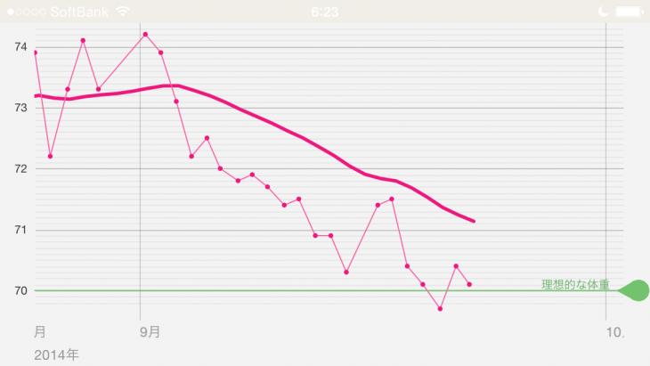 久しぶりに右下がりのグラフになってくれた(^^;